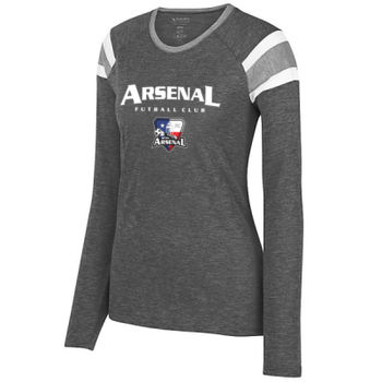 Arsenal Futball Club - White w/ Crest - Ladies Long Sleeve Fanatic Tee  2 Thumbnail